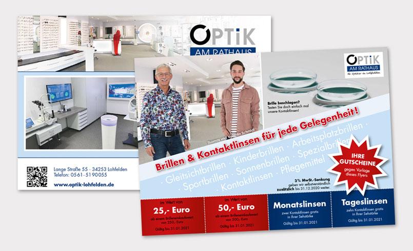 Gutschein-Flyer Optik am Rathaus